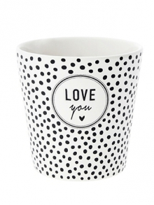 RJ/CUP 304 BL - Bastion Collections Kelímek DOTS LOVE YOU in black 8x9cm