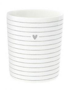 LI/MUG SM 021 GR - Bastion Collections Kelímek HEART/STRIPES in grey, 8x9cm
